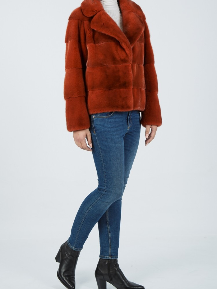 IT-9051 - Orange mink fur jacket with english collar