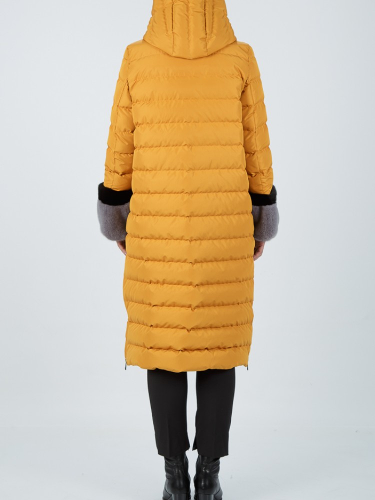 IT74 - Ochre down coat with hood and mink cuffs