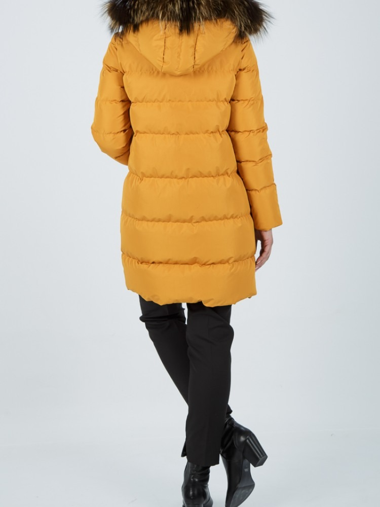 IT90 - Ochre down jacket with fox hood