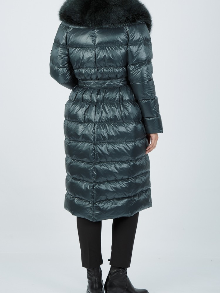 DANAE - Green down coat with fox collar
