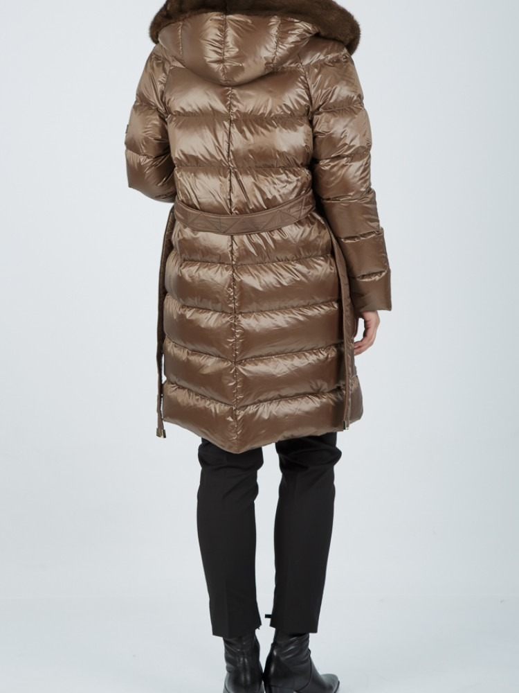 KLEO - Brown down jacket with mink hood