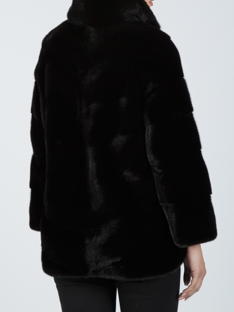 IT-143 - Blackglama mink fur jacket with english collar