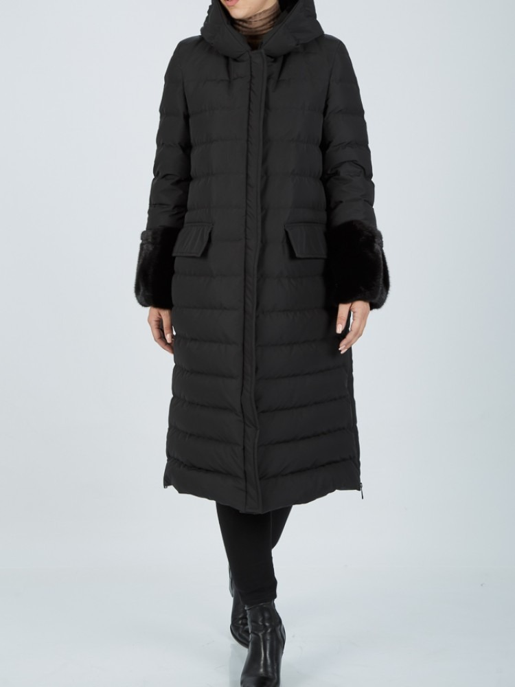 IT74 - Black down coat with hood and mink cuffs