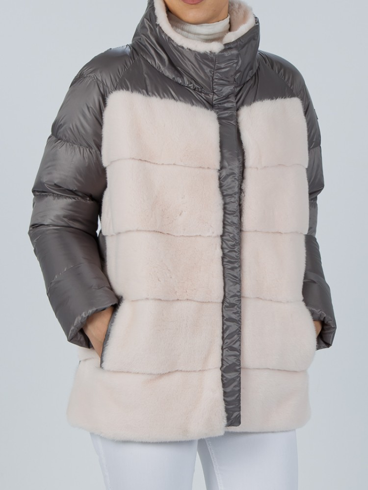IT161 - Light grey down jacket with mink front and collar