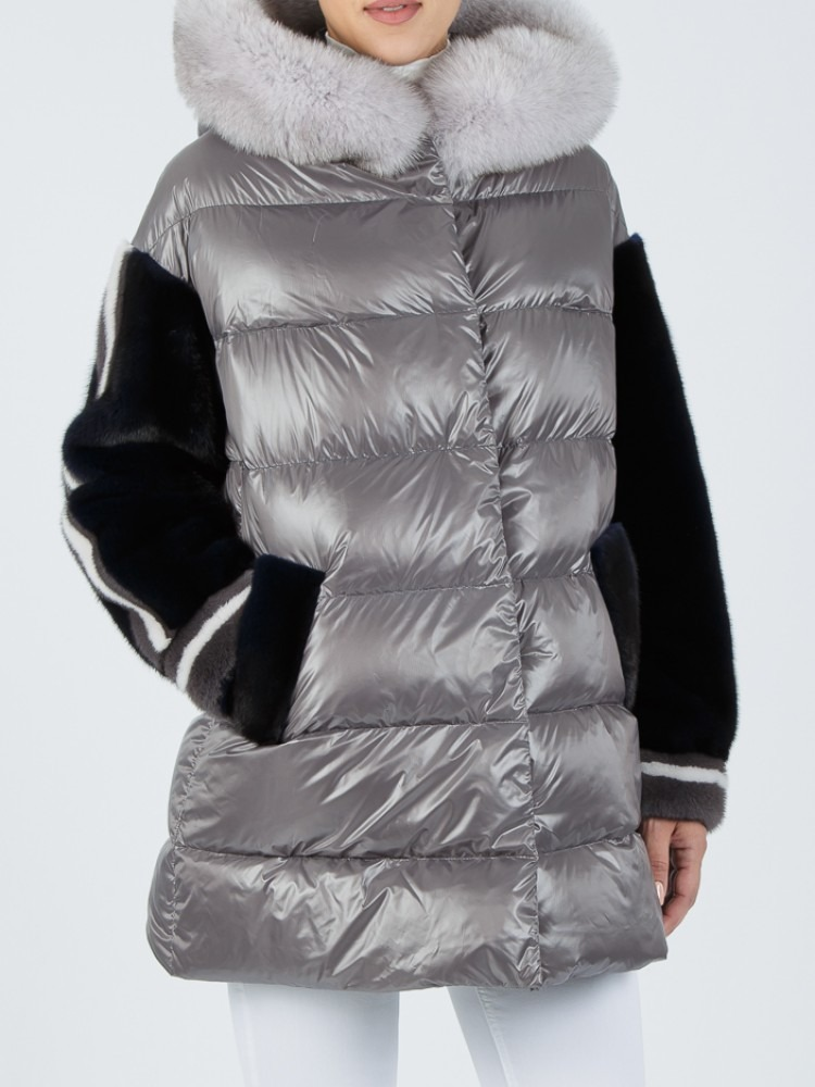 IT159 - Light grey down jacket with fox hood and mink sleeves