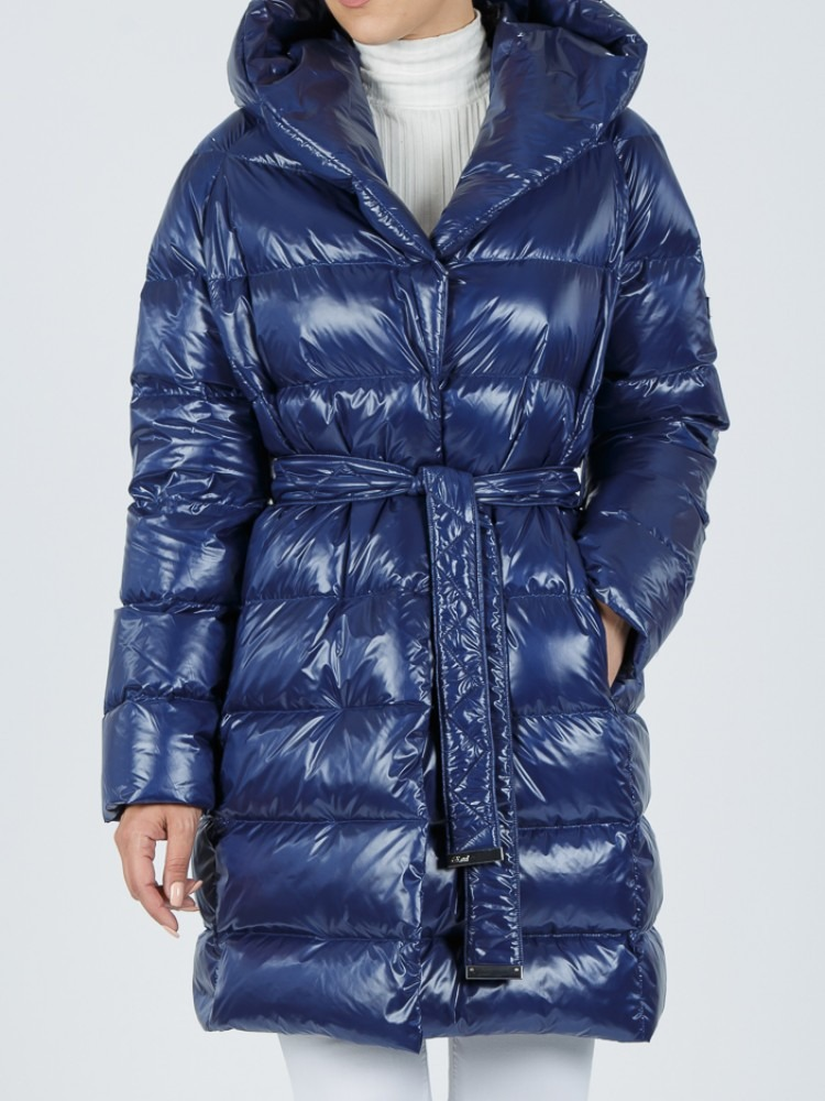 ARETI - Blue electric down jacket with hood