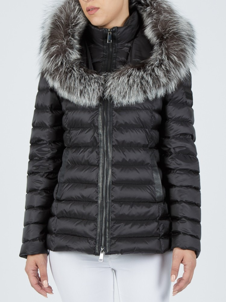 IT169 - Black down jacket with fox hood