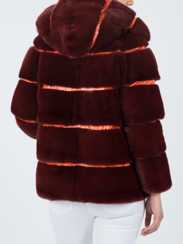 ΙΤ162 - Double face red and orange down jacket with mink