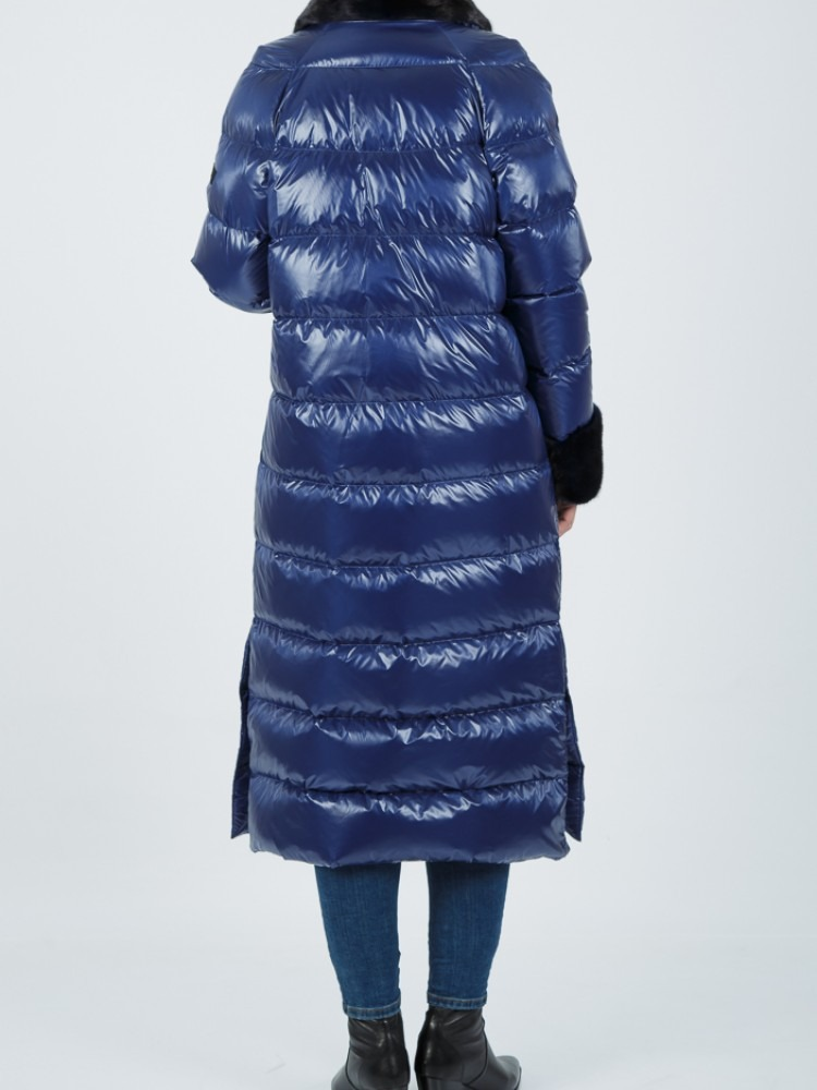 IT153 - Blue electric down coat with mink collar and mink cuffs