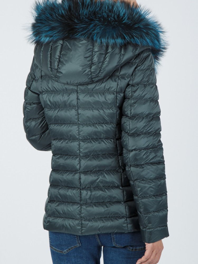 IT169 - Green down jacket with fox hood