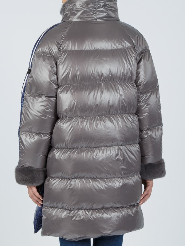 IT158 - Light Grey & Blue electric down jacket with mink collar and mink cuffs